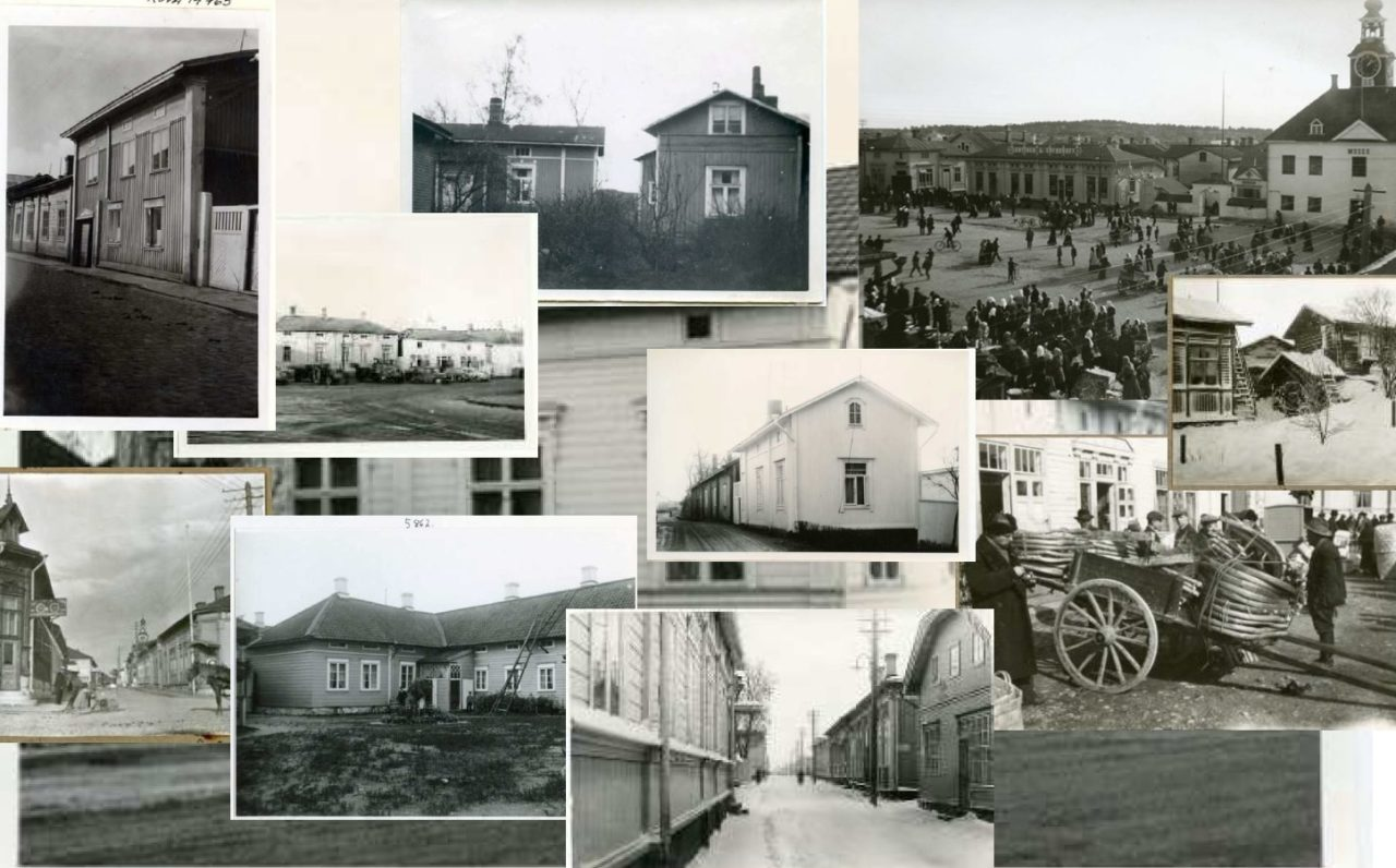Mustavalkoisia valokuvia Vanhan Rauman rakennuksista ja ihmisistä.
