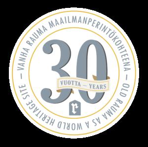 Vanha Rauma 30 vuotta maailmanperintökohteena -logo PNG